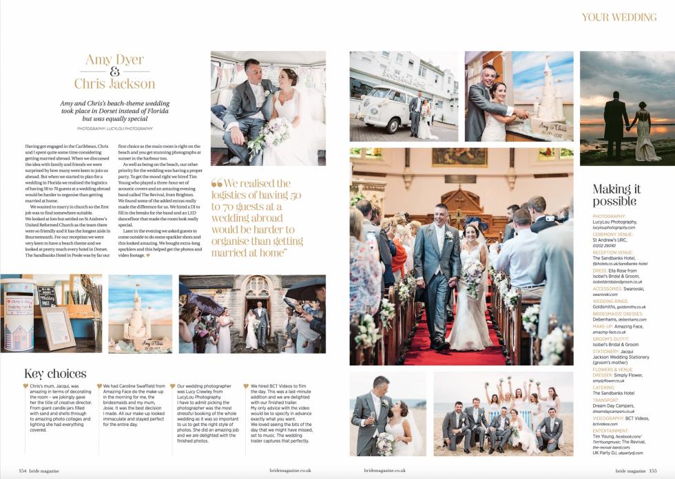 Dorset Hampshire Wiltshire Bride Magazine Feature