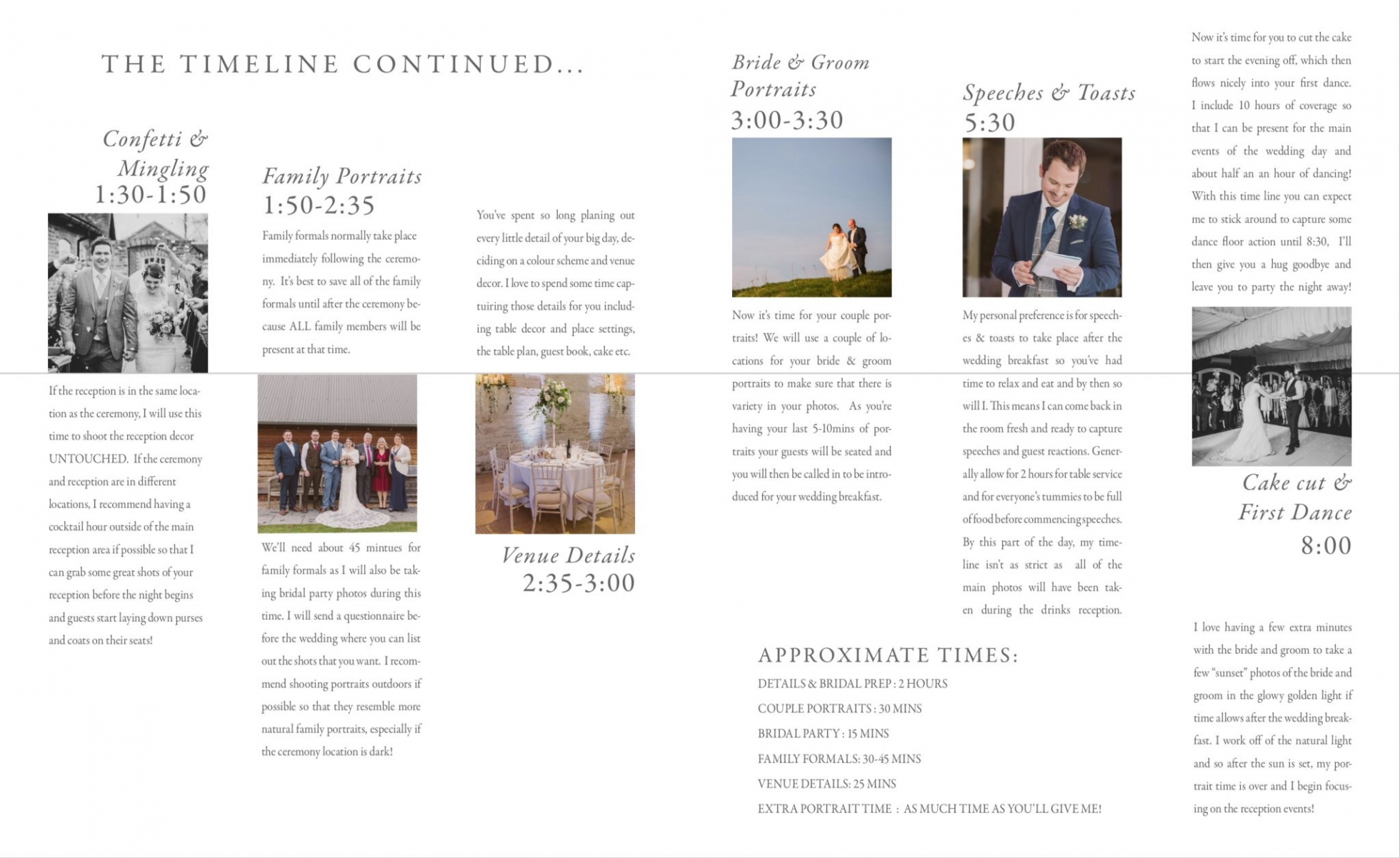 A suggested wedding day timeline to help with the flow of your wedding